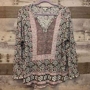Lucky Brand Four Leaf Clover Floral Print Top